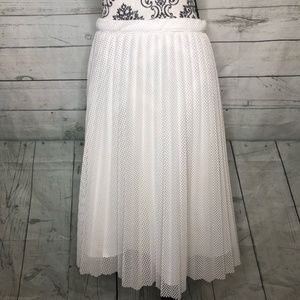 Calvin Klein White Net Raw Hem Lined A Lined 16